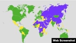 Мапа від Freedom House щодо свободи преси у світі