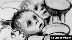 """Фрагмент литографии немецкой художницы Кете Кольвиц """"Немецкие дети голодают"""""""