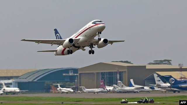 A Russian Sukhoi Superjet 100 takes off for a demonstration flight at Jakarta's Halim Perdanakusuma airport on May 9. It crashed shortly afterwards.