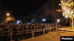 Armenia - Riot police block a street leading to the Central Election Commission, Yerevan, 7Dec2015.