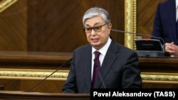 KAZAKHSTAN -- Qasym-Zhomart Toqaev speaks during a joint session of the houses of parliament in Astana, March 20, 2019