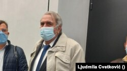Journalist Milan Jovanovic at the court in Belgrade on February 23.