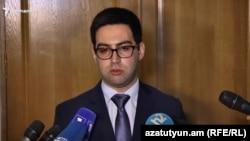 Armenia -- Justice Minister Rustam Badasian speaks with journalists, April 7, 2021.