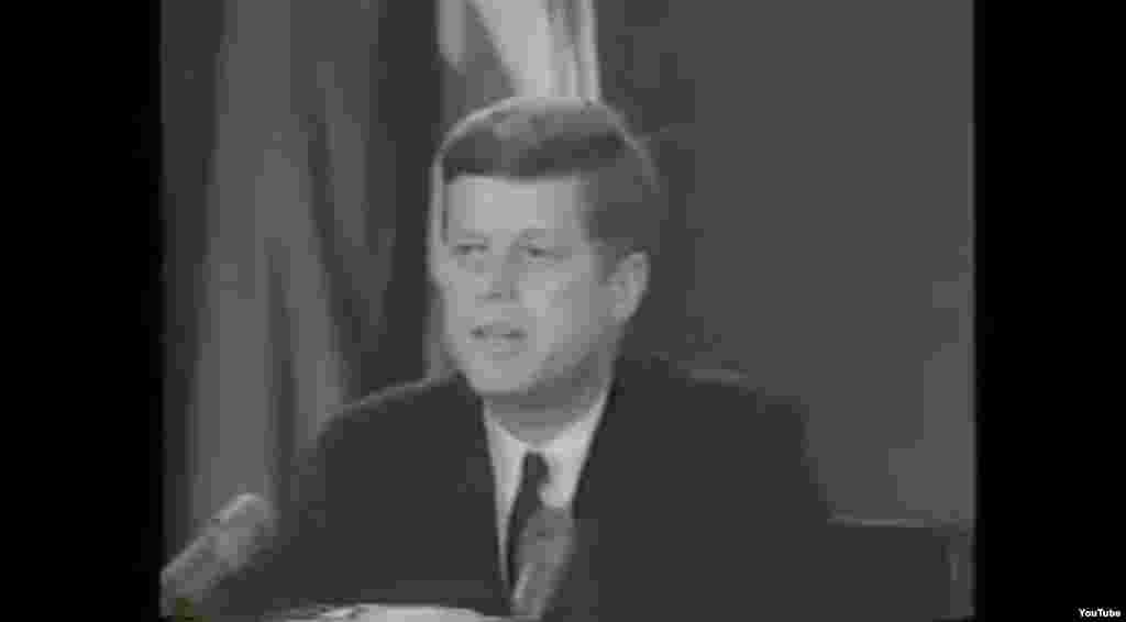 "President Kennedy says in a televised address to the nation on October 22 that ""a series of offensive missile sites is now in preparation on [the] imprisoned island"" of Cuba. He says their purpose ""can be none other than to provide a nuclear-strike capability against the Western Hemisphere."""