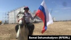 Красноярск командасында ойногон кыргыз улакчы.