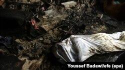 Сирија- покриено тело по нападот во Дамаск, 02.10.2017