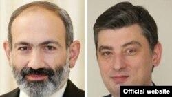Премьер-министр Армении Никол Пашинян (слева) и новоизбранный премьер-министр Грузии Георгий Гахария