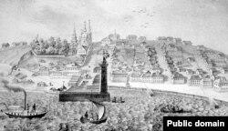 Вид города Петрозаводска. Гравюра 1842 года.