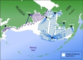The planned flight routes to cover the Bering Sea in the project, totaling some 20,000 nautical miles over U.S. and Russian waters.