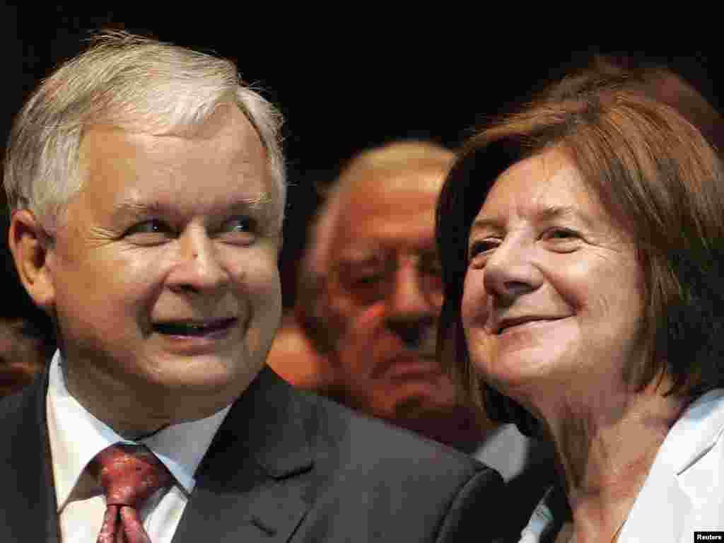 Predsednik Poljske Leh Kačinjski sa suprugom Marijom, 25. septembra 2007.