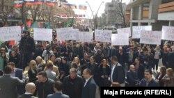 Pamja nga protesta e sotme në Mitrovicën e Veriut.