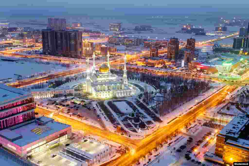 The Nur-Astana Mosque. Few expenses were spared as architects from around the world were flown into Astana to raise what looked like a kind of Asian Las Vegas from the steppe.