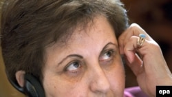 "Shirin Ebadi spoke of what she called ""a new definition of peace"" as ""calmness,"" not merely ""the absence of war."""