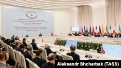 A view of a multilateral conference aimed at laying the groundwork for direct talks between the Afghan government and the Taliban, in Tashkent on March 27.