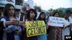 د بشري حقونو لپاره کارکوونکي د راشد رحمان پر وژل کېدو احتجاج کوي