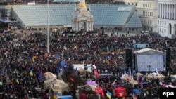 Vedere generală a demonstrației din Piața Independenței, la Kiev
