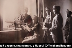 Українські бійці у приміщенні Галицького сейму. Львів, листопад 1918 року