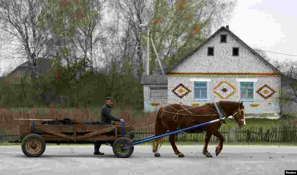 A man leads a horse and a cart in the Belarusian village of Lavski Brod. (Reuters/Vasily Fedosenko)