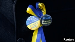 Значки в поддержку Украины на пиджаке участника акции протеста, проходившей в Лондоне во время встречи Сергея Лаврова с Джоном Керри