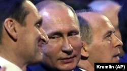 Сергей Нарышкин (СВР), Владимир Путин (президент РФ), Александр Бортников (ФСБ).