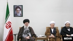 """Taqiyyeh, anyone?"" Iran Supreme Leader Ali Khamenei (left) and Akbar Hashemi Rafsanjani (center) in Tehran on February 25"