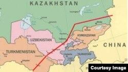 Орталық Азияда Қытайға газ тасымалдайтын құбырдың үшінші - С тармағының картасы.