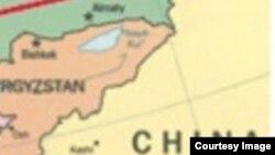 Карта приграничных районов Казахстана, Кыргызстана и Китая.