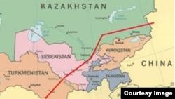 Карта маршрута линии С газопровода Центральная Азия - Китай.