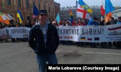 Павел Лобарев на первомайской демонстрации в Санкт-Петербурге. 2015 г.