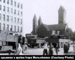 Менск падчас Другой сусьветнай вайны, раён цяперашняй плошчы Незалежнасьці