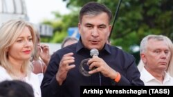 Mikheil Saakashvili speaks during a meeting with his supporters in Odesa on June 19.