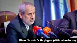 Prosecutor General of Tehran Abbas Jafari-Dolatabadi, in a meeting in Tehran on Sunday April 29, 2018.