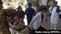 A victim wounded in the Gardez attack arrives at a local hospital.