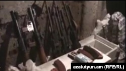Armenia - A screenshot of police video of an arms cache discovered in Yerevan on 29Feb2012.