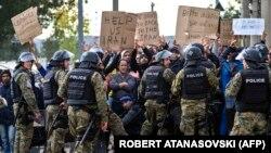 Македония-Грекия шекарасындағы мигранттар наразылығы. 22 қараша 2015 жыл.