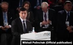 Президент України Володимир Зеленський на Мюнхенській конференції з питань безпеки. Мюнхен, 15 лютого 2020 року
