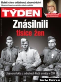"""Обложка еженедельника """"Тыден"""" со статьей об изнасилованиях чешских женщин красноармейцами"""