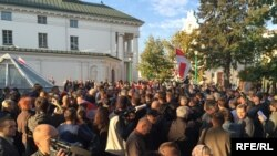 «Народны сход» у Менску супраць разьмяшчэньня расейскай вайсковай базы ў Беларусі.