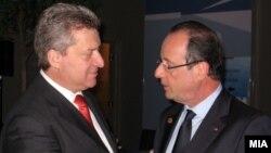 Претседателот Ѓорге Иванов и францускиот претседател Франсоа Оланд.