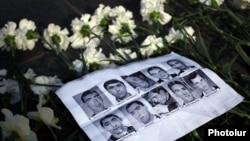 Armenia - Pictures of the ten people killed in the March 2008 post-election unrest in Yerevan are displayed during an opposition rally marking its 8th anniversary, 1Mar2016.