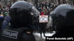 Алексей Навальнийни дастаклаш акциясидан лавҳа, Москва, 2021 йил 23 январи