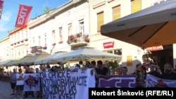 Members of Zavetnici protest against a screening of the documentary Kosovo Cheers in Novi Sad.
