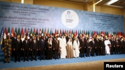 Turkey -- Leaders and representatives of the Organisation of Islamic Cooperation (OIC) member states pose for a group photo during the Istanbul Summit in Istanbul, April 14, 2016
