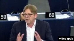 The video shows former Belgian Prime Minister Guy Verhofstadtster growing visibly heated as he accuses Hungarian Prime Minister Viktor Orban of pursuing policies that seek to deliberately sabotage European values.