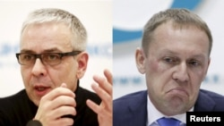 Andrei Lugovoi (right) has been accused by British investigators of carrying out the 2006 poisoning of Kremlin critic Aleksandr Litvinenko at a hotel in central London, with the help of Dmitry Kovtun (left).