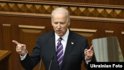 Вице-президент США Джо Байден выступает в Верховной Раде Украины