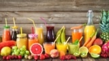 Various freshly squeezed fruits and vegetable juices