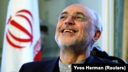 Iranian nuclear chief Ali Akbar Salehi reacts as he speaks to Reuters during an interview in Brussels, November 27, 2018