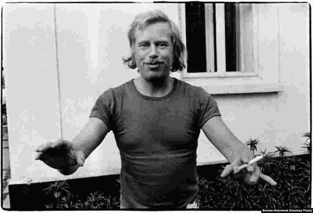 Vaclav Havel in 1975 at his country cottage, called Hradecek, in North Bohemia