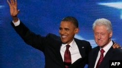 Президент США Барак Обама и бывший президент США Билл Клинтон. Северная Каролина, 5 сентября 2012 года.